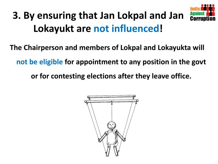 3. By ensuring that Jan Lokpal and Jan Lokayukt are