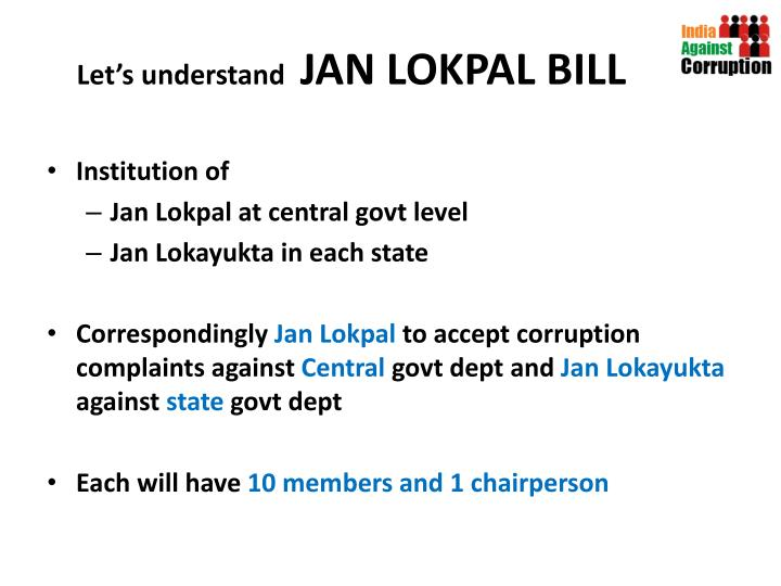 Let s understand jan lokpal bill