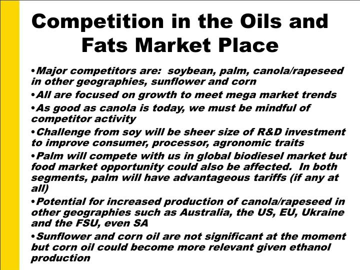 Competition in the Oils and Fats Market Place