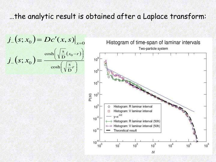 …the analytic result is obtained after a Laplace transform: