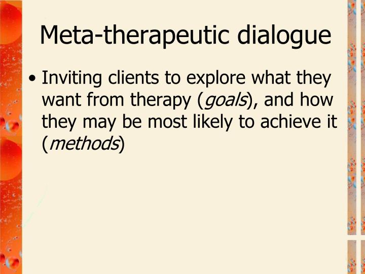 Meta-therapeutic dialogue