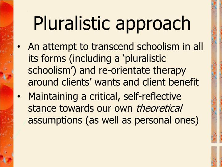 An attempt to transcend schoolism in all its forms (including a 'pluralistic schoolism') and re-orientate therapy around clients' wants and client benefit