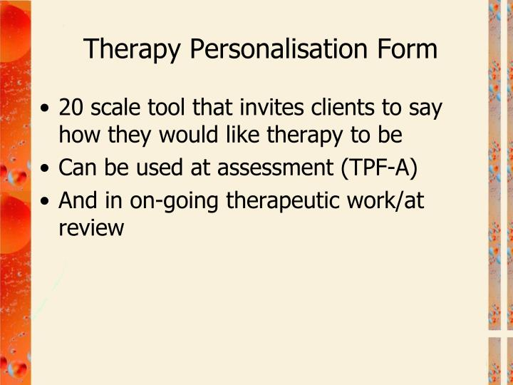 Therapy Personalisation Form