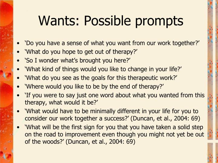Wants: Possible prompts
