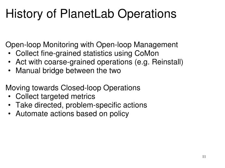 History of PlanetLab Operations