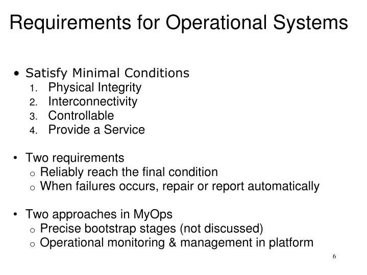 Requirements for Operational Systems