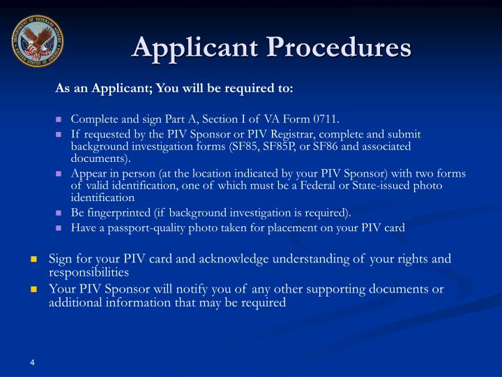 Applicant Procedures