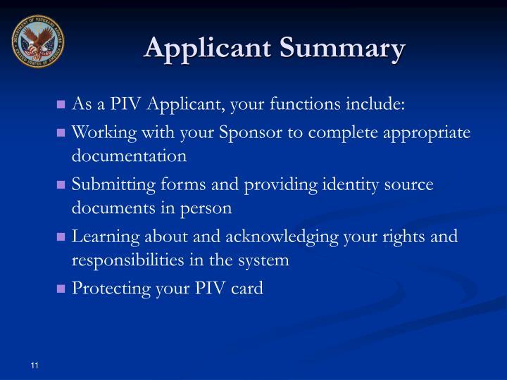 Applicant Summary