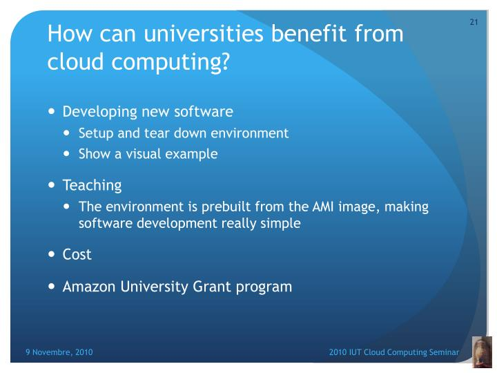 How can universities benefit from cloud computing?