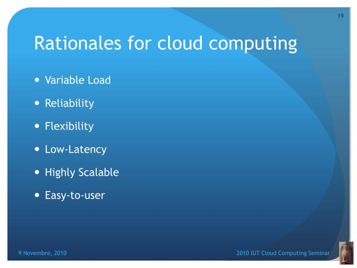 Rationales for cloud computing