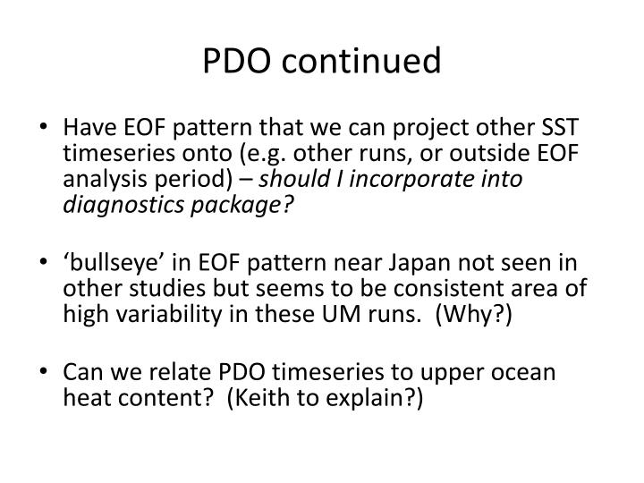PDO continued