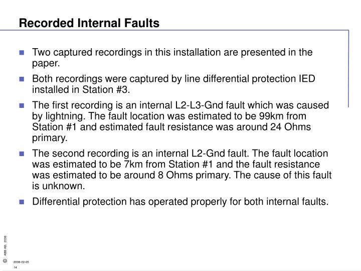 Recorded Internal Faults