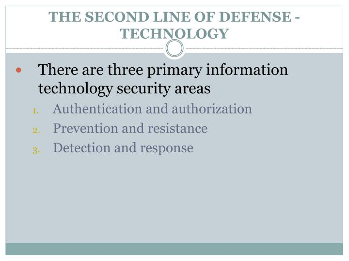 THE SECOND LINE OF DEFENSE - TECHNOLOGY