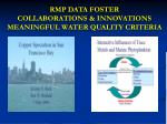 rmp data foster collaborations innovations meaningful water quality criteria
