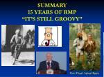 summary 15 years of rmp it s still groovy