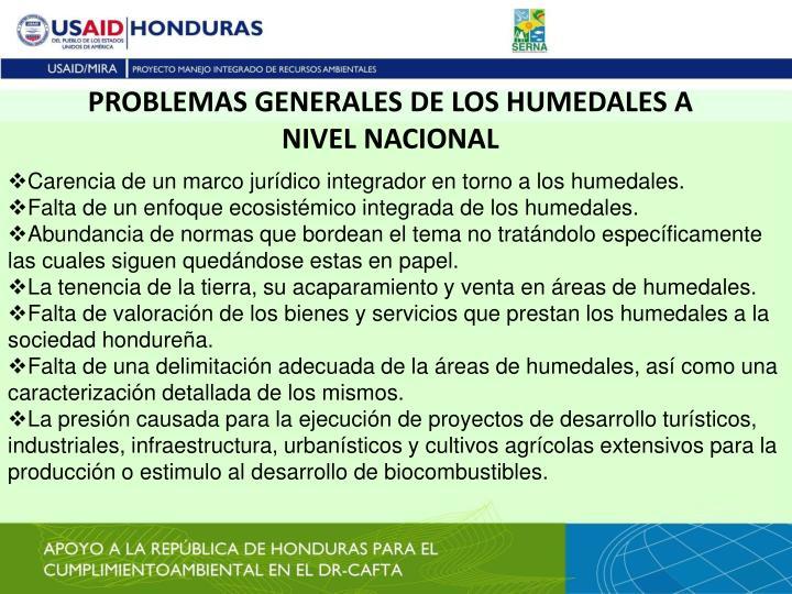 PROBLEMAS GENERALES DE LOS HUMEDALES A NIVEL NACIONAL