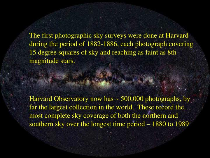 The first photographic sky surveys were done at Harvard during the period of 1882-1886, each photograph covering 15 degree squares of sky and reaching as faint as 8th magnitude stars.
