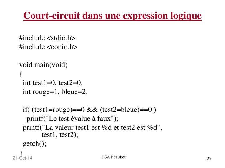 Court-circuit dans une expression logique