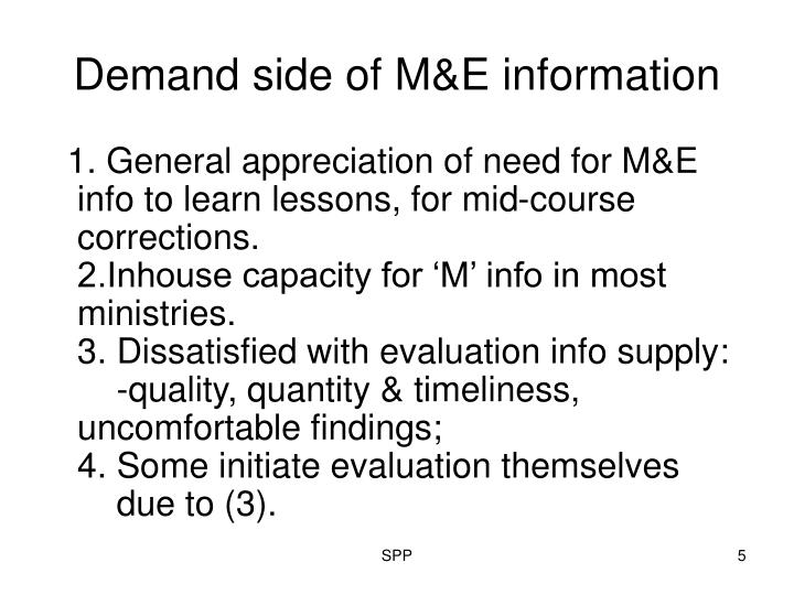 Demand side of M&E information