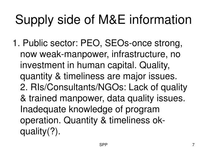 Supply side of M&E information