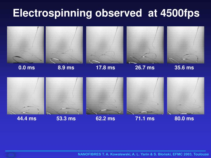 Electrospinning observed  at 4500fps