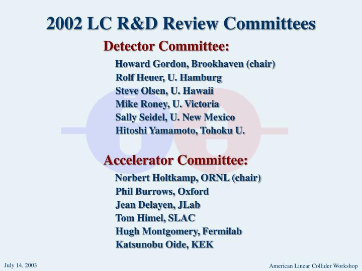 2002 LC R&D Review Committees