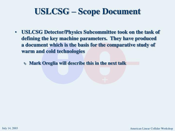 USLCSG – Scope Document