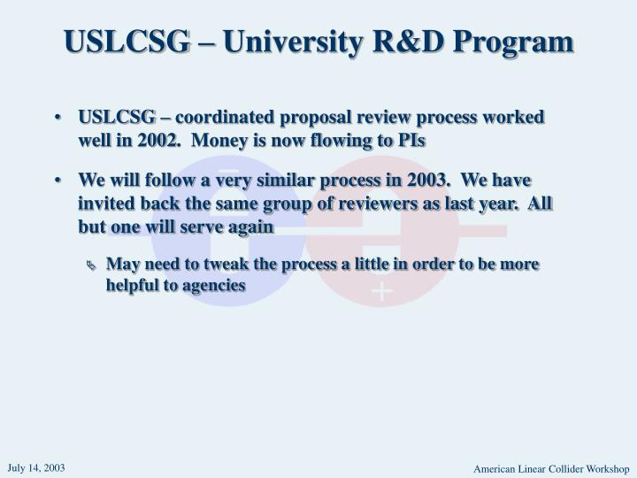 USLCSG – University R&D Program