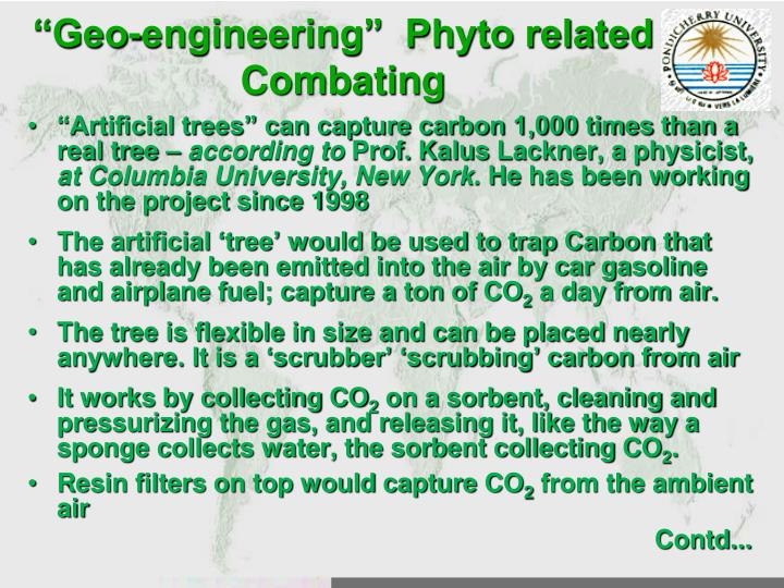 """Geo-engineering""  Phyto related Combating"