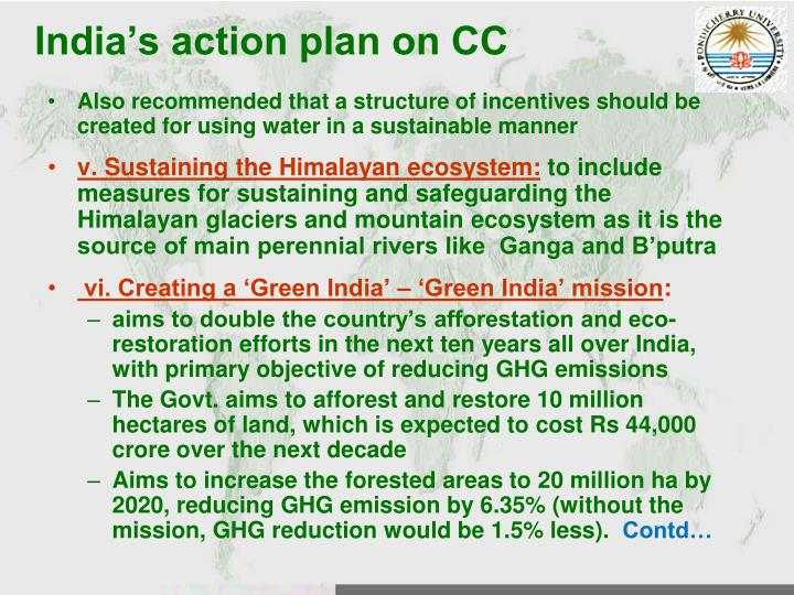India's action plan on CC