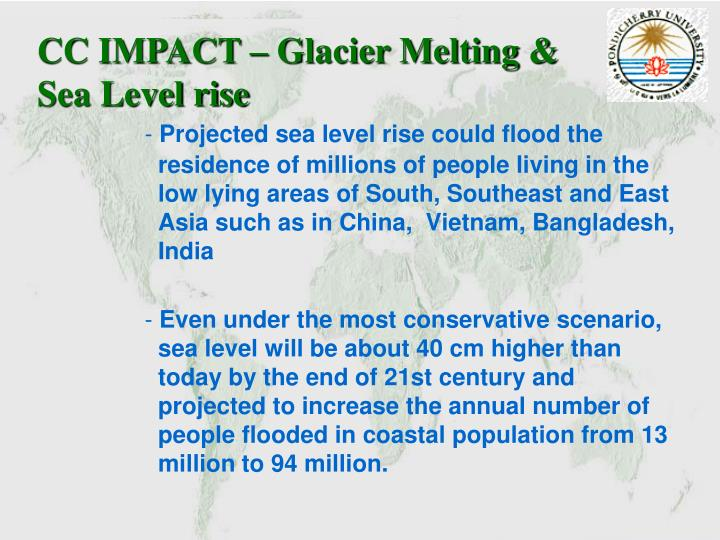 CC IMPACT – Glacier Melting & Sea Level rise