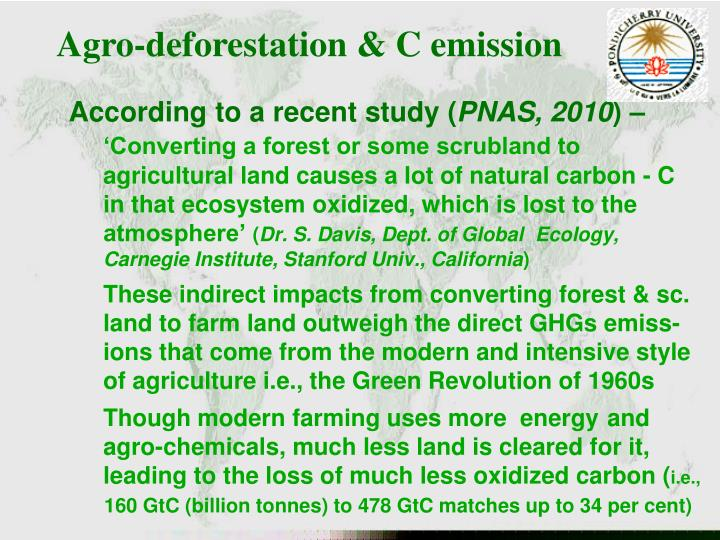 Agro-deforestation & C emission