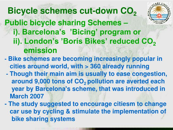 Bicycle schemes cut-down CO
