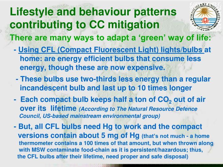 Lifestyle and behaviour patterns  contributing to CC mitigation