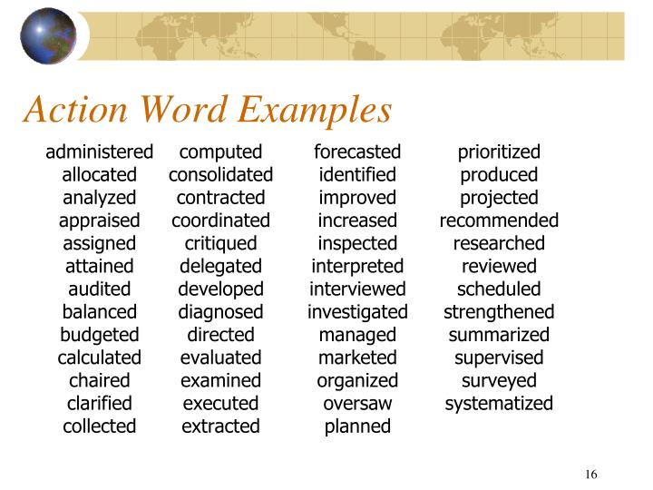 Action Word Examples