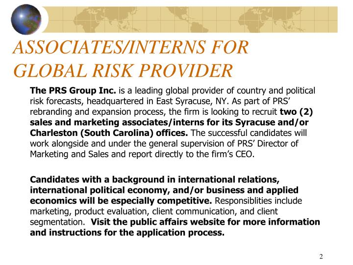 Associates interns for global risk provider