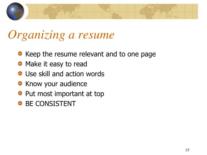 Organizing a resume