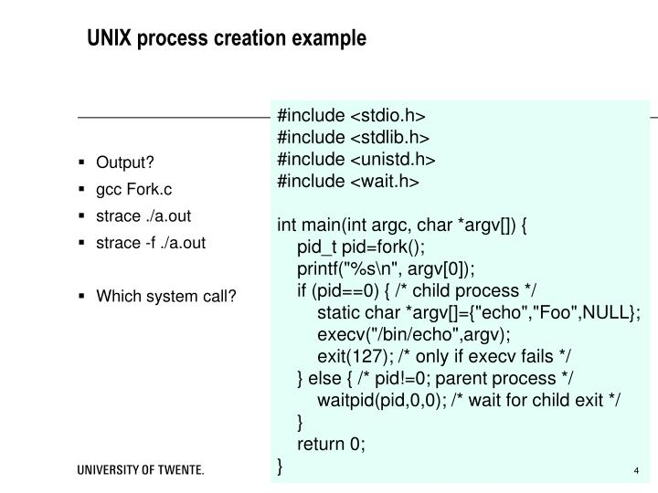 UNIX process creation example