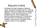 educator s note