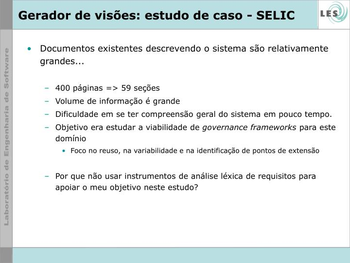 Gerador de visões: estudo de caso - SELIC