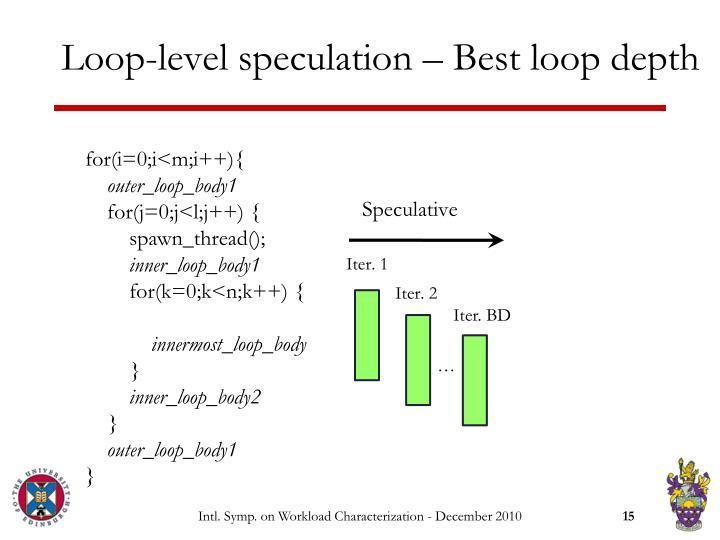 Loop-level speculation – Best loop depth