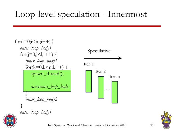 Loop-level speculation - Innermost