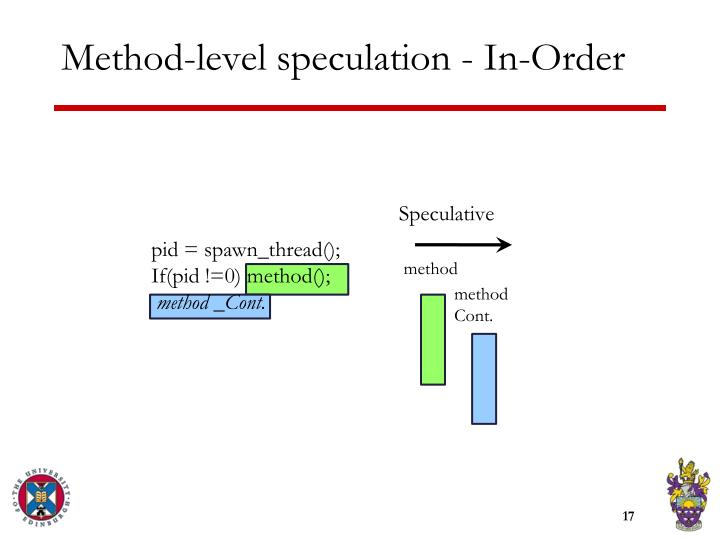 Method-level speculation - In-Order