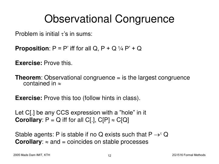 Observational Congruence