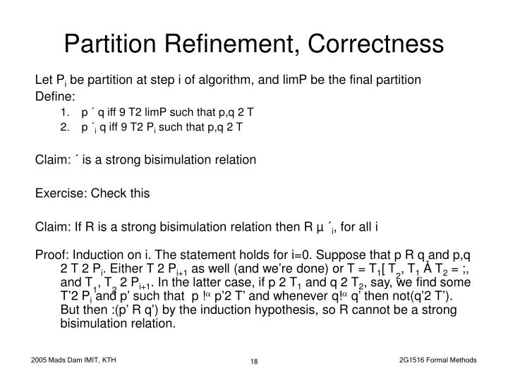 Partition Refinement, Correctness