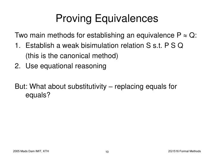 Proving Equivalences