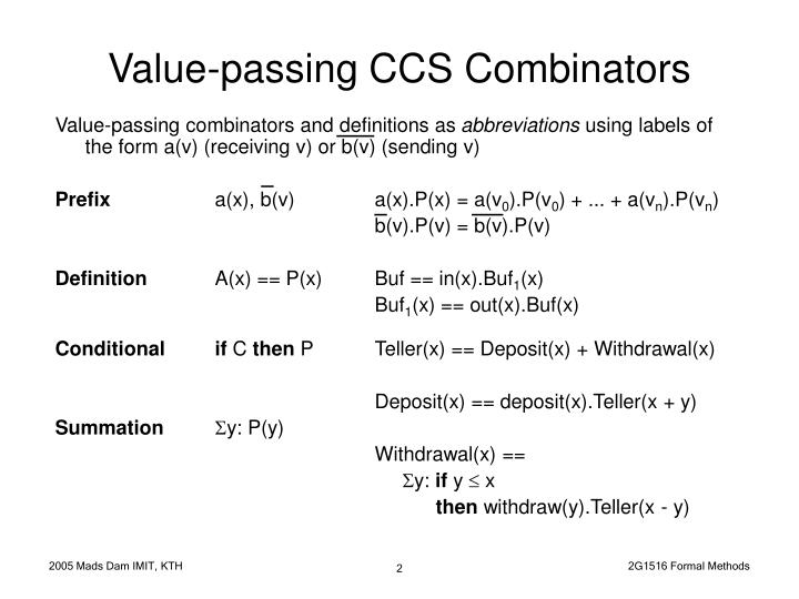 Value passing ccs combinators