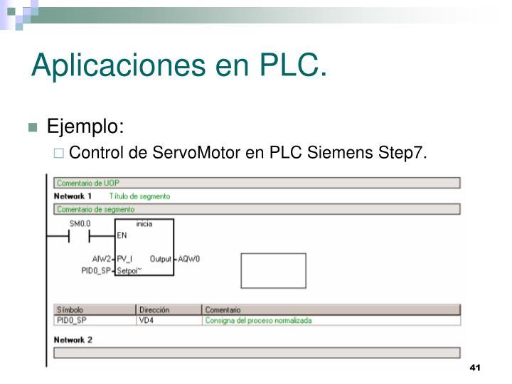 Aplicaciones en PLC.