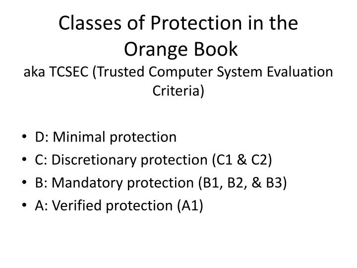 Classes of Protection in the
