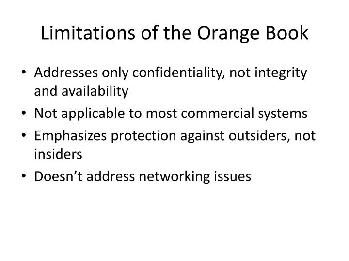 Limitations of the Orange Book